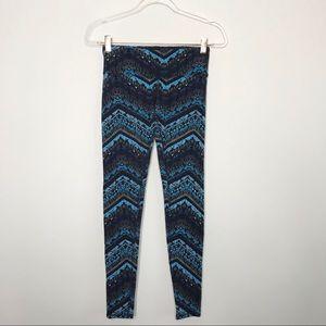 Alo Yoga Airbrush Chevron Printed Leggings Blue XS
